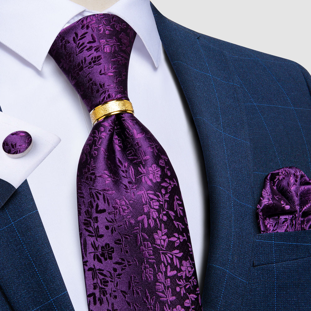 4PCS Purple Floral Tie Pocket Square Cufflinks with Tie Ring Set