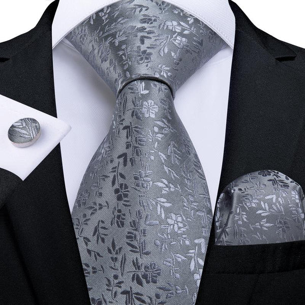 Grey Floral Tie Pocket Square Cufflinks Set