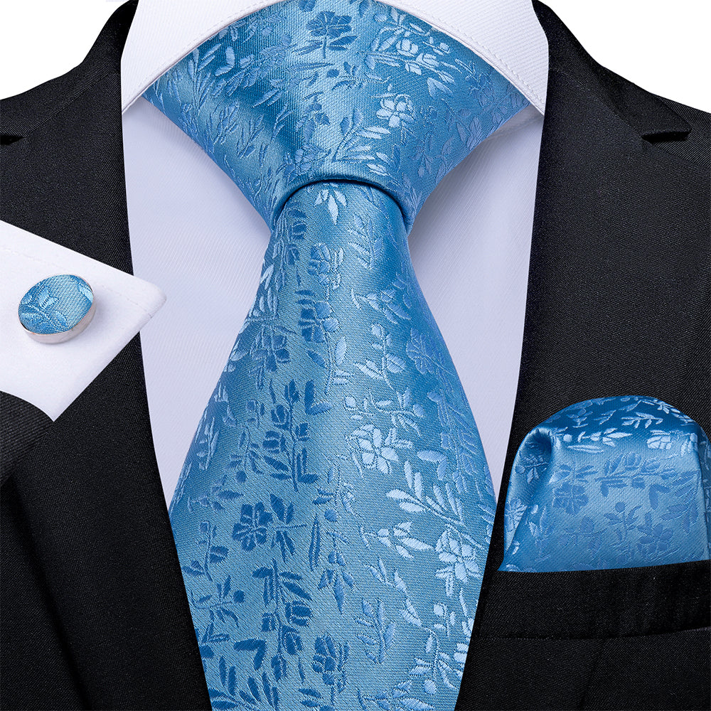 Load image into Gallery viewer, New Blue Floral Tie Pocket Square Cufflinks Set