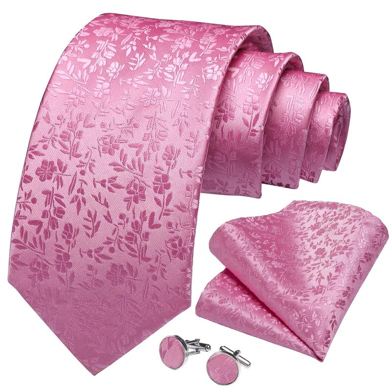 Pink Floral Tie Pocket Square Cufflinks Set