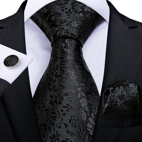 Black Floral Men's Tie Handkerchief Cufflinks Set