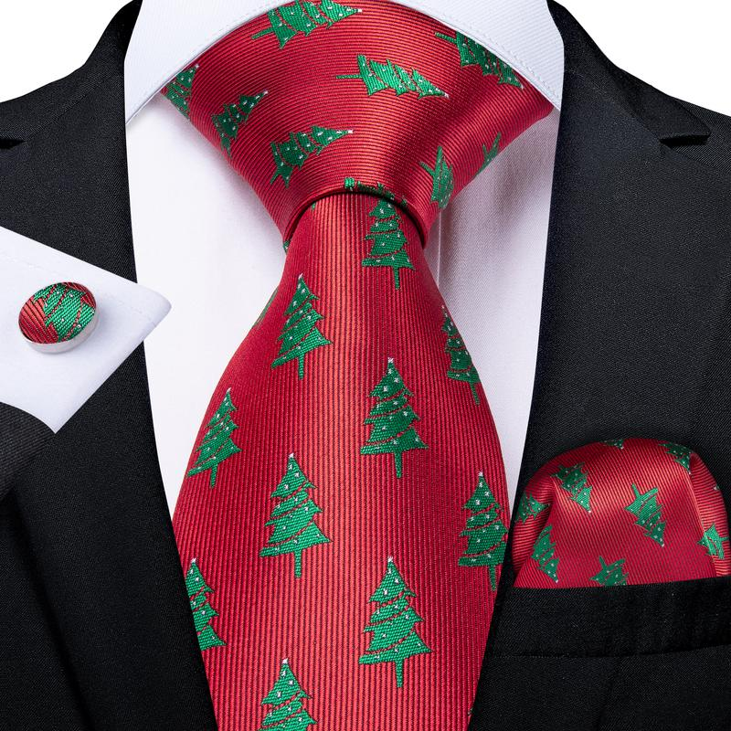 Load image into Gallery viewer, Xmas Red  Men's Tie Pocket Square Cufflinks Set (4422955597905)