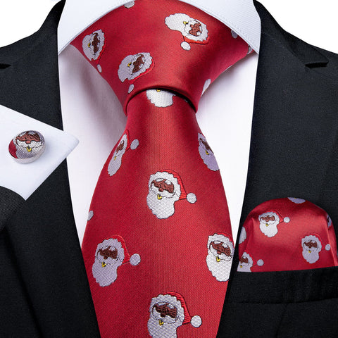 Santa Claus Red Men's Tie Pocket Square Cufflinks Set