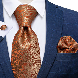 Golden Orange Paisley Men's Tie Handkerchief Cufflinks Set with Tie Tack
