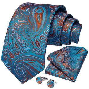 Load image into Gallery viewer, New Blue Orange Paisley Tie Pocket Square Cufflinks Set