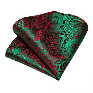 4PCS Green Red  Paisley Men's Tie Pocket Square Cufflinks with Tie Ring Set (4527284355153)