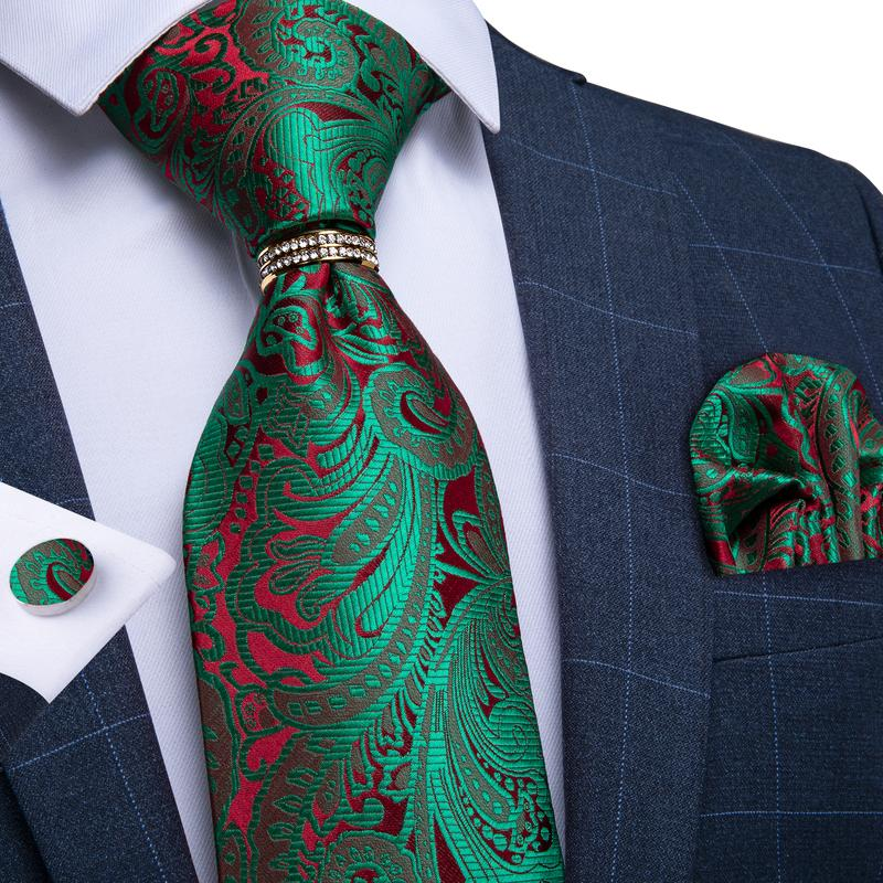 4PCS Green Red  Paisley Men's Tie Pocket Square Cufflinks with Tie Ring Set