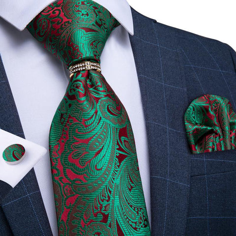 Green Red  Paisley  Men's Tie Ring Handkerchief Cufflinks Set
