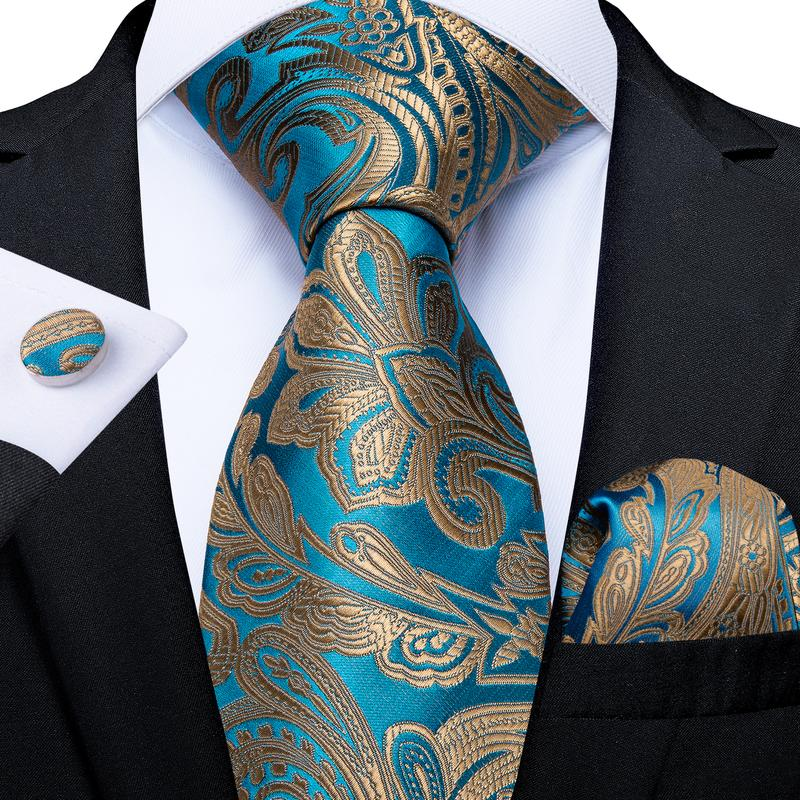 Load image into Gallery viewer, Gold Teal Paisley Men's Tie Handkerchief Cufflinks Set (4465879351377)