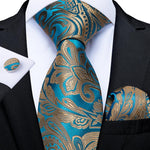 Gold Teal Paisley Men's Tie Handkerchief Cufflinks Set