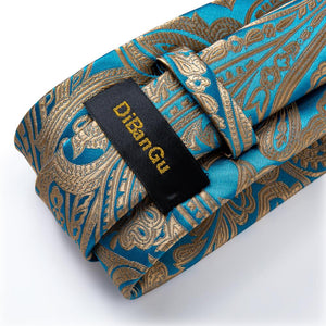 Gold Teal Paisley Men's Tie Handkerchief Cufflinks Set (4465879351377)