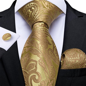 4PCS Yellow Brown Paisley Men's Tie Pocket Square Cufflinks with Tie Ring Set