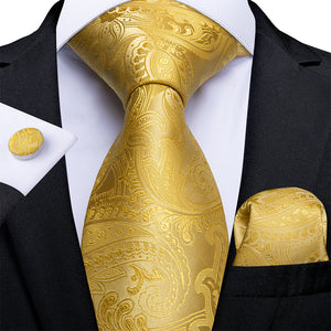 Load image into Gallery viewer, New Yellow Paisley Tie Handkerchief Cufflinks Set