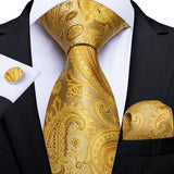 Gold Yellow Paisley Men's Tie Ring Handkerchief Cufflinks Set