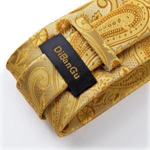 New Golden Yellow Paisley Tie Handkerchief Cufflinks Set (4601438306385)