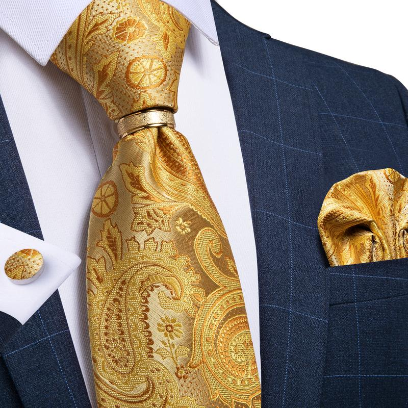 4PCS Gold Yellow Paisley Men's Tie Pocket Square Cufflinks with Tie Ring Set