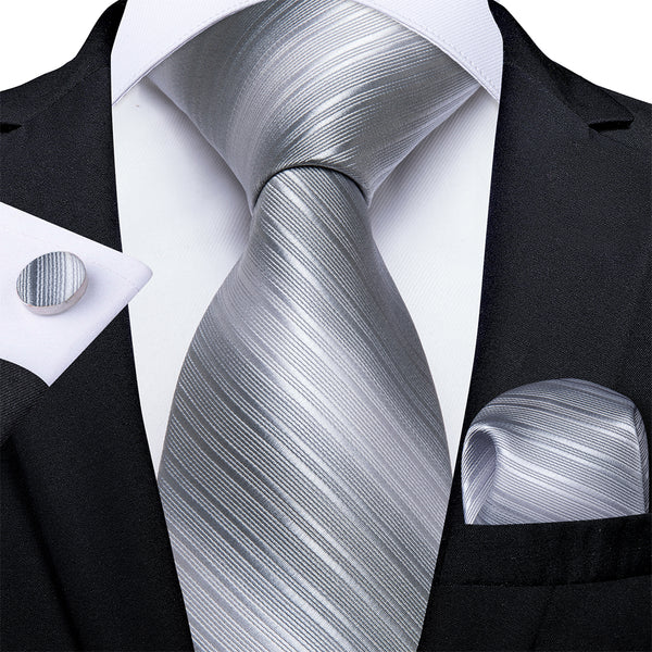 New Silver Grey Stripe Tie Handkerchief Cufflinks Set