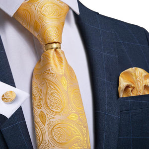 Load image into Gallery viewer, Gold Yellow Paisley Men's Tie Ring Handkerchief Cufflinks Set