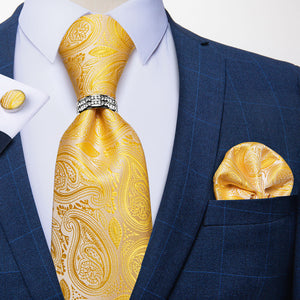 4PCS Yellow Paisley Tie Pocket Square Cufflinks with Tie Ring Set
