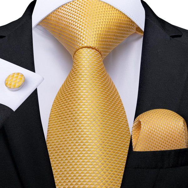 New Yellow Solid Tie Pocket Square Cufflinks Set