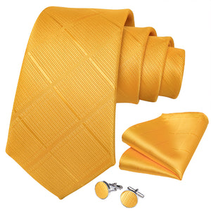 Load image into Gallery viewer, New Yellow Plaid Tie Pocket Square Cufflinks Set