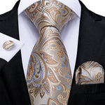 New Beige Brown Blue Floral Tie Pocket Square Cufflinks Set