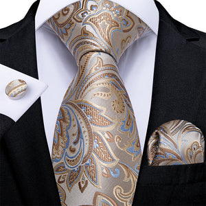 4PCS Beige Brown Floral Silk Tie Pocket Square Cufflinks With Tie Ring Set