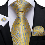 New Floral Tie Pocket Square Cufflinks Set