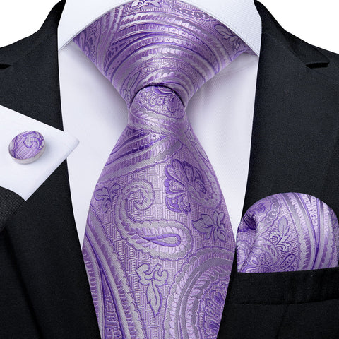 Purple Paisley Men's Tie Handkerchief Cufflinks Set