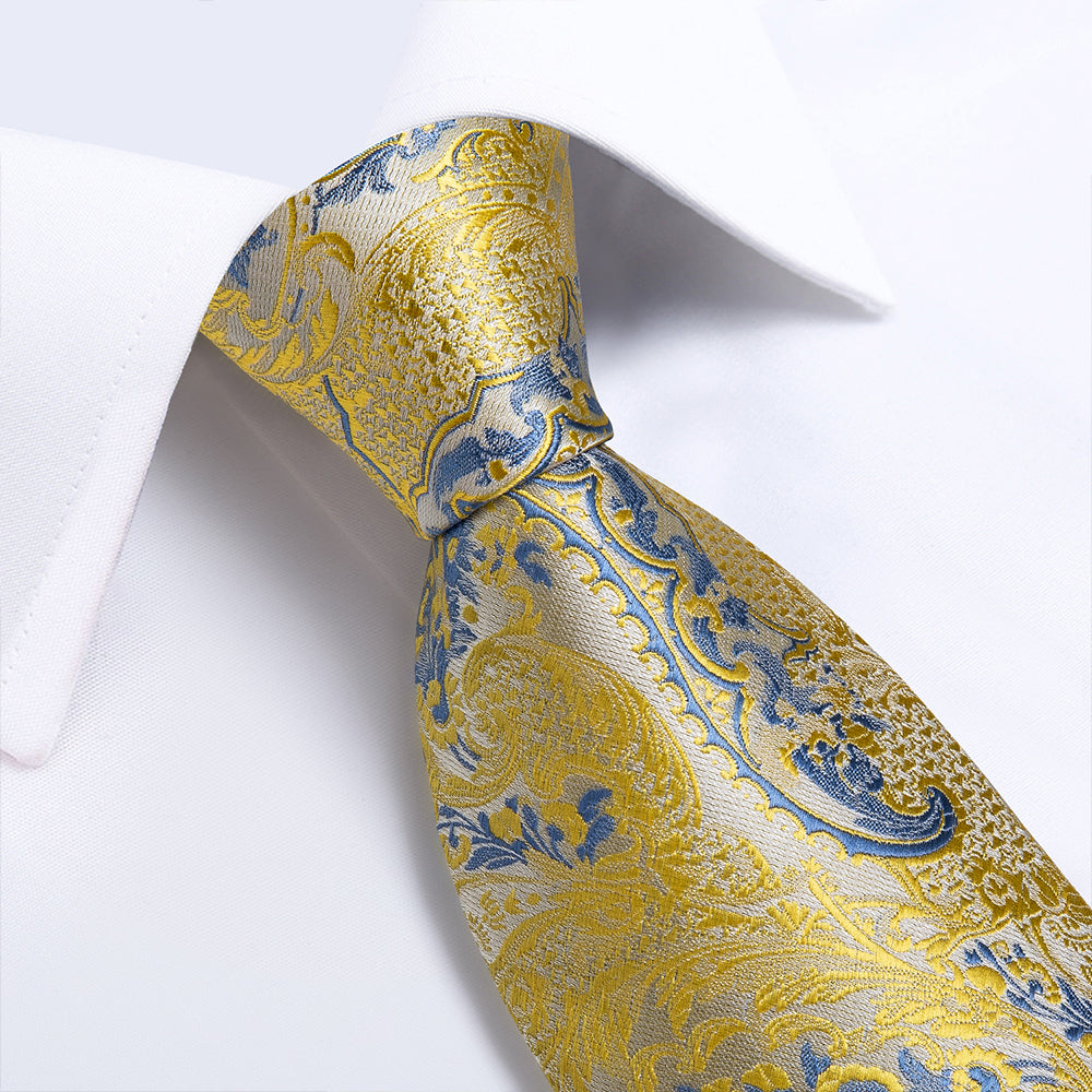 New Yellow Light Blue Floral Tie Pocket Square Cufflinks Set (4601451511889)