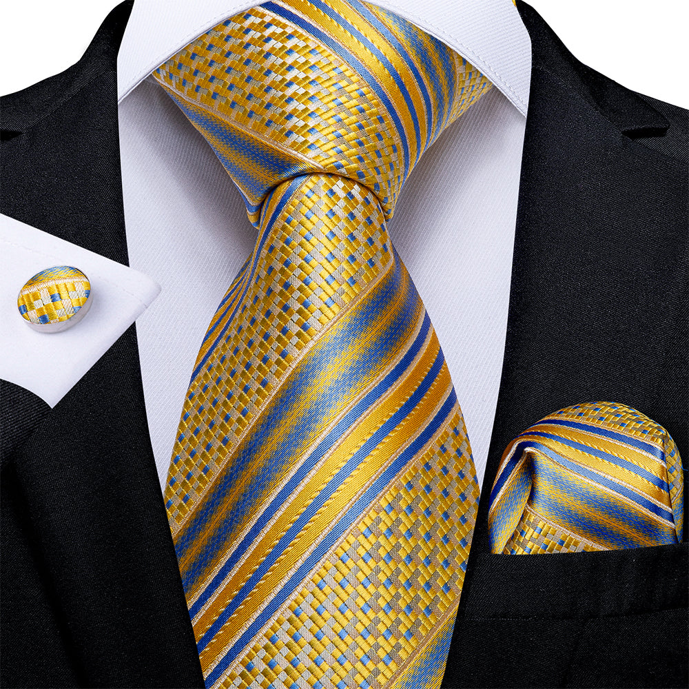New Yellow Blue Stripe Tie Pocket Square Cufflinks Set (4601457705041)