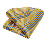 Gold Blue Striped Men's Tie Ring Handkerchief Cufflinks Set