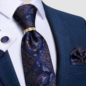 4PCS Blue Golden Floral Tie Pocket Square Cufflinks with Tie Ring Set
