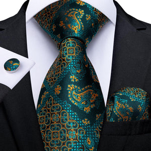 New Blackish Green Yellow Plaid Floral Tie Pocket Square Cufflinks Set (4601463603281)