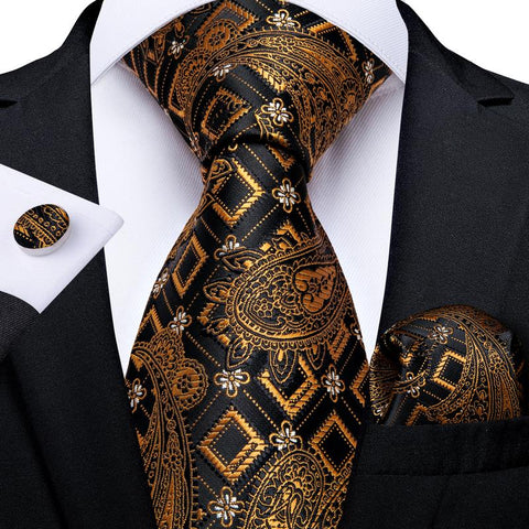 Brown Black Floral Tie Pocket Square Cufflinks Set