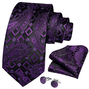 Load image into Gallery viewer, New Purple Black Paisley Tie Pocket Square Cufflinks Set (4601466388561)