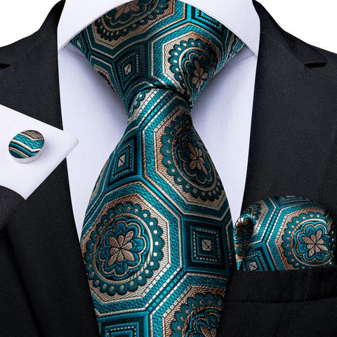Teal Yellow Plaid Men's Tie Handkerchief Cufflinks Set