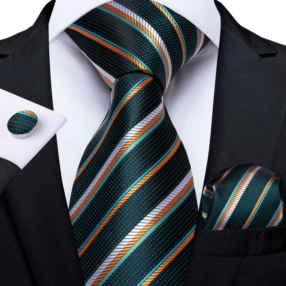 Green Orange Striped Men's Tie Handkerchief Cufflinks Set