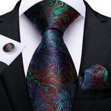 Purple Green Floral Men's Tie Handkerchief Cufflinks Set