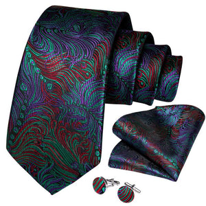 Purple Green Floral Men's Tie Handkerchief Cufflinks Set (4468076904529)