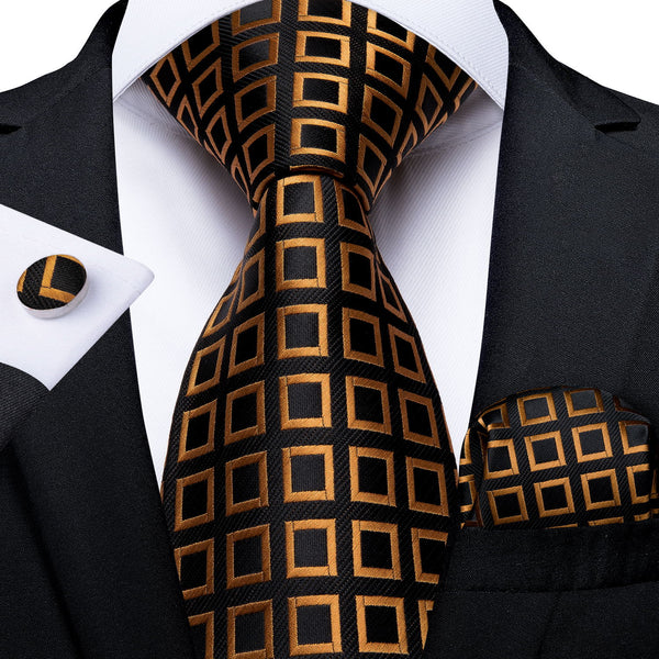Brown Black Plaid Men's Tie Handkerchief Cufflinks Set