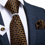 Brown Black Plaid 4PCS Men's Silk Tie Pocket Square Cufflinks with Tie Ring Set