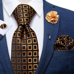 Brown Black Plaid Silk Men's Necktie Handkerchief Cufflinks Set With Lapel Pin Brooch Set