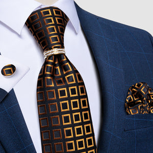 4PCS Black Brown Plaid Silk Men's Tie Pocket Square Cufflinks with Tie Ring Set