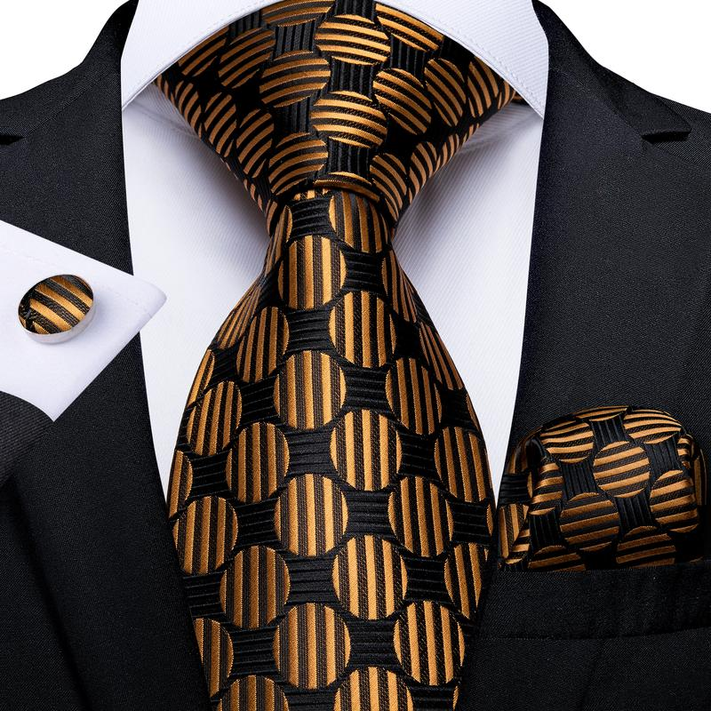 Brown Black Polka Dot Tie Pocket Square Cufflinks Set