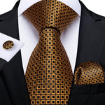 Brown Black Plaid Tie Pocket Square Cufflinks Set