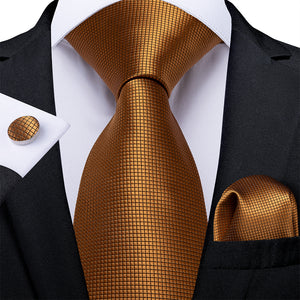 New Solid Golden Plaid Tie Pocket Square Cufflinks Set