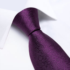 Load image into Gallery viewer, New Solid Purple Tie Pocket Square Cufflinks Set