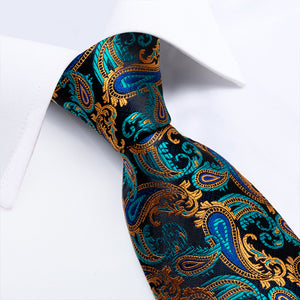 New Gorgeous Cyan Yellow Paisley Tie Pocket Square Cufflinks Set (4601478840401)