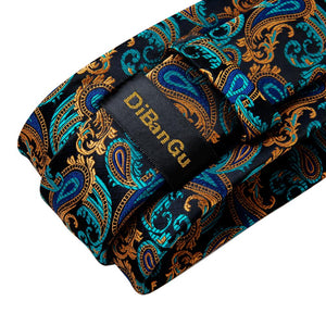 New Gorgeous Cyan Yellow Paisley Tie Pocket Square Cufflinks Set